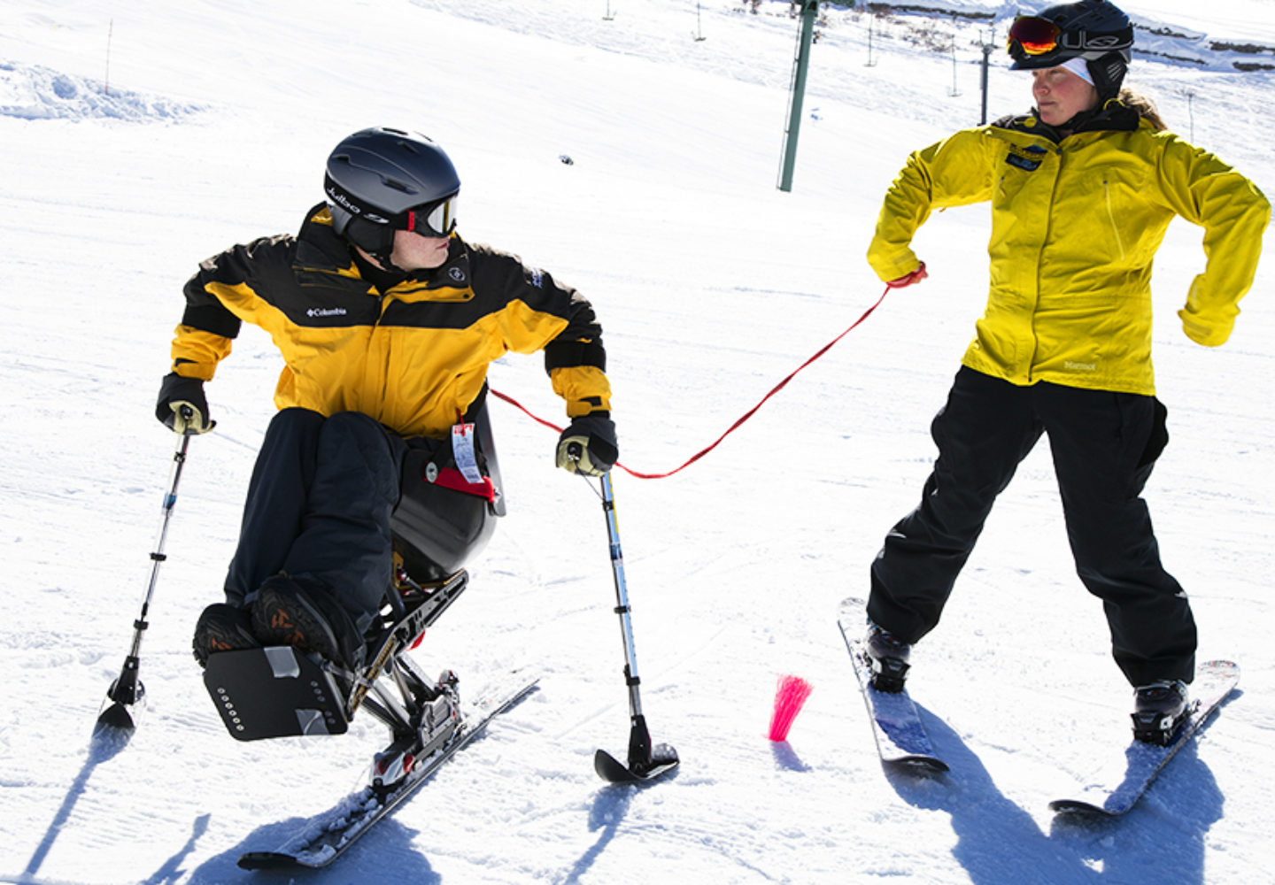Dr. Thomas Balazy skis at 2018 Wells Fargo Cup where Craig Hospital announces partnership with NSCD to promote adaptive sports and recreation opportunities for community.