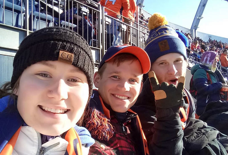 Nick Rietz at a Broncos game with family