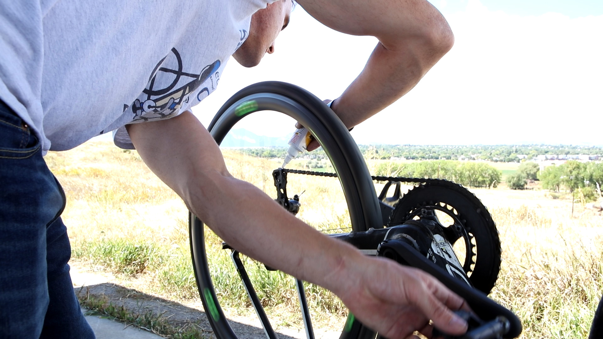 Brian Roders, Spinal Cord Injury and Traumatic Brain Injury Patient at Craig Hospital, Tuning His Bicycle