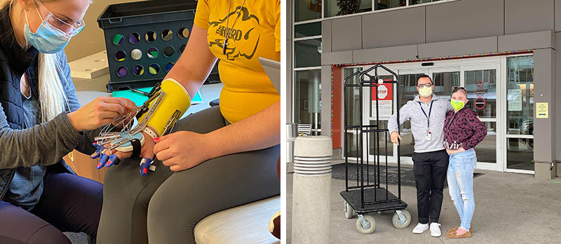 Two photos - one of electrode therapy and one of Megan discharging
