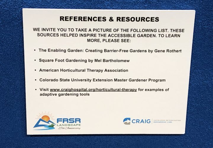 Craig Hospital references and resources for accessible garden design at the 2019 Colorado Garden and Home Show