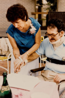 Bob and Janet cut their wedding cake on the Craig Hospital terrace in 1985.