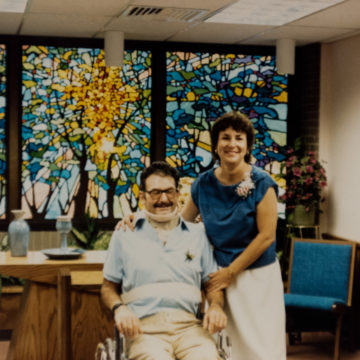 Photo of Janet and Bob Wilson, who were married in the Craig Hospital Chapel in 1985 while Bob was undergoing spinal cord injury rehabilitation.