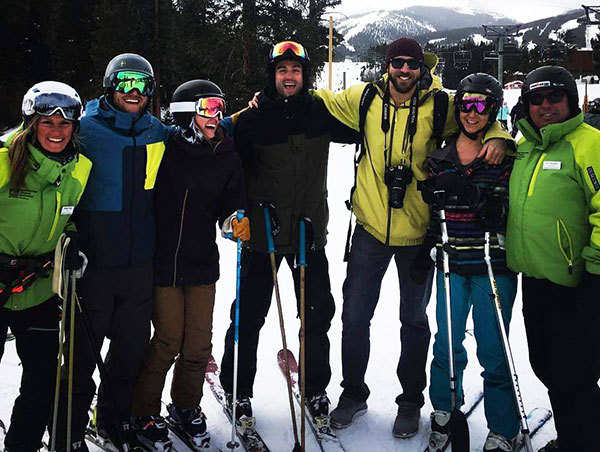 Molei Wright skiing with friends