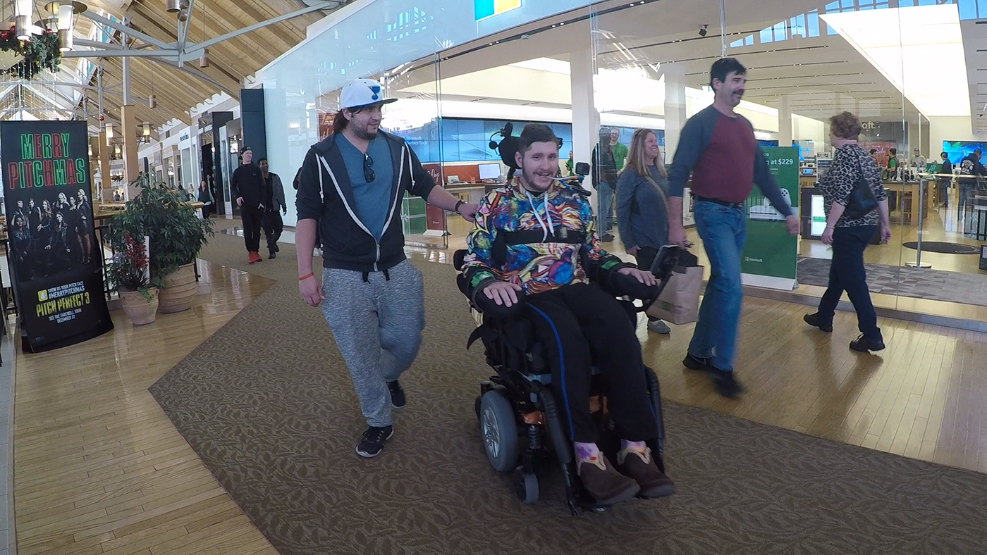 Craig Hospital Spinal Cord Injury Patients at a Mall Shopping for Holiday Gifts