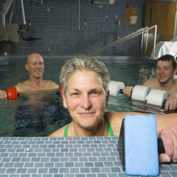 Sharon Blackburn, a retired Craig Hospital Physical Therapist in the old Craig pool.