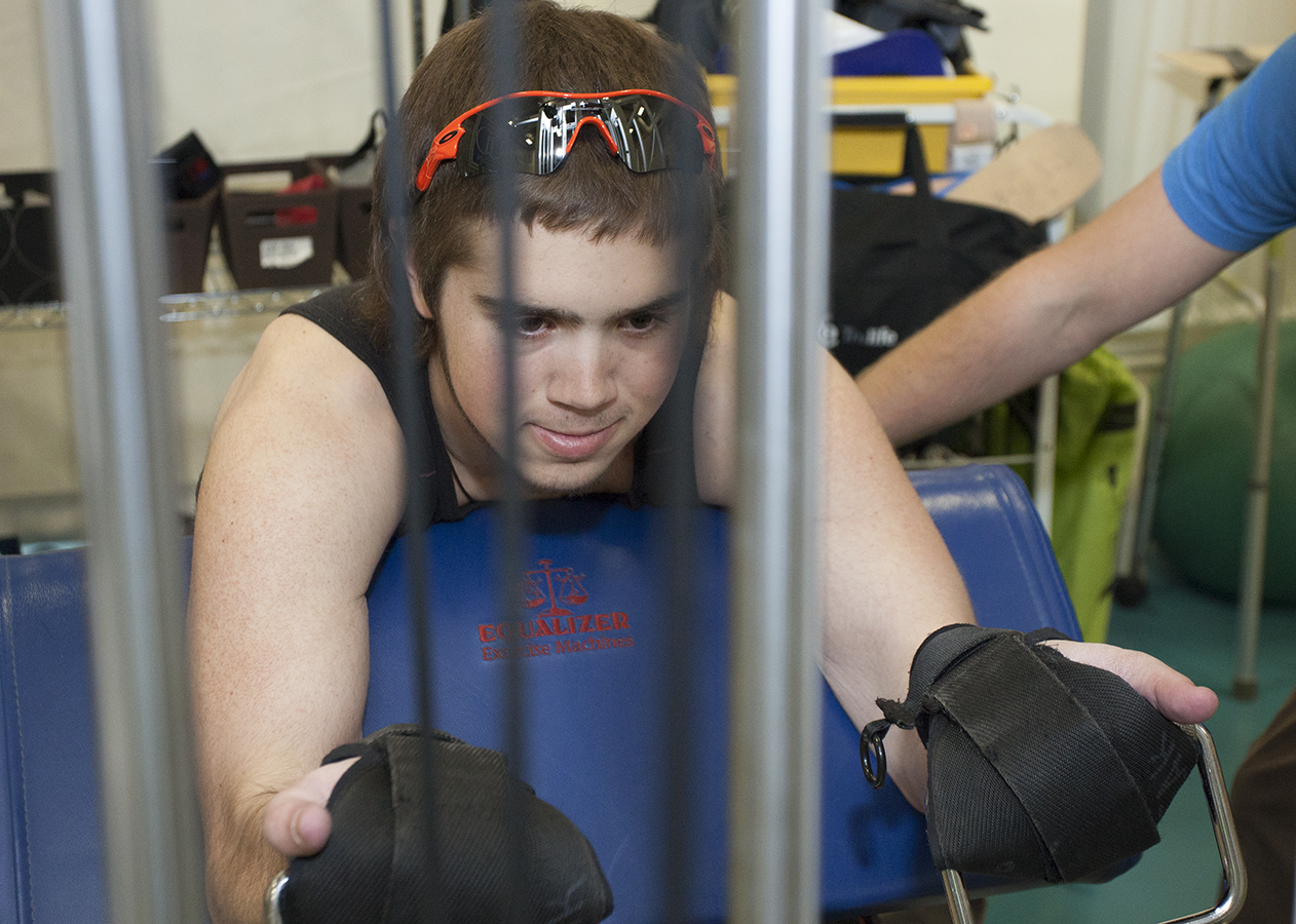 Paraplegic Patient in Physical Rehabilitation at Craig Hospital Following Spinal Cord Injury