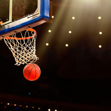 Image of a basketball hoop. Jim Gillen, Head Athletic Trainer for the Denver Nuggets, established a scholarship at Craig Hospital for young athletes who has sustained a spinal cord or brain injury.