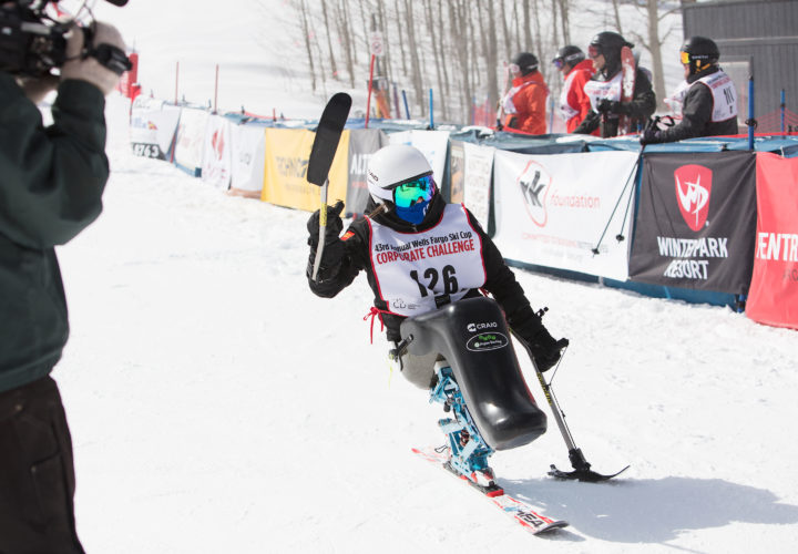 Alana Nichols skis on Craig Team at 2018 NSCD Wells Fargo Cup where they announced partnership to further opportunities for adaptive sports community.