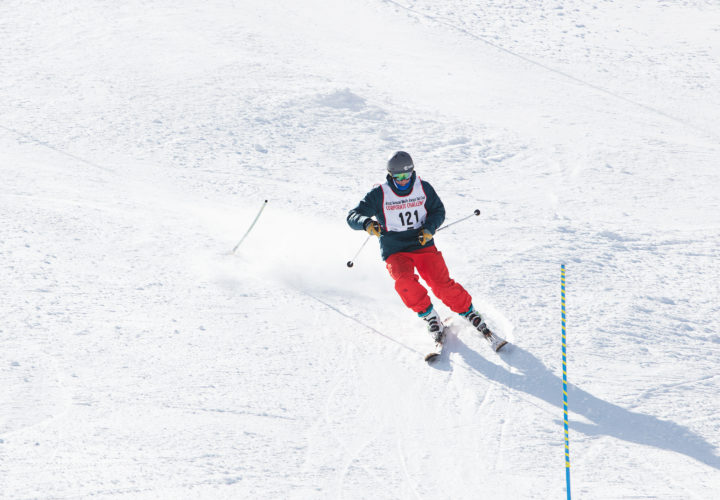 Tom Carr skis at 2018 Wells Fargo Cup where Craig Hospital announces partnership with NSCD to promote adaptive sports and recreation opportunities for community.