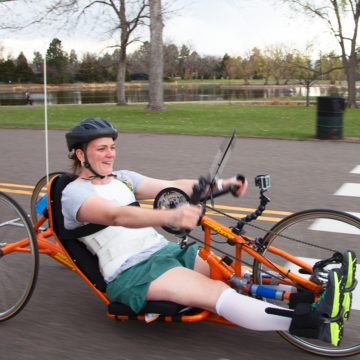 Craig Hospital | Spinal Cord Injury Rehabilitation Patient Handcycling with the Therapeutic Recreation Program