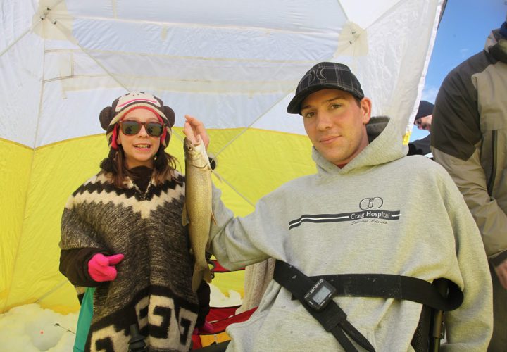 Ice fishing patient and family outing through Therapeutic Recreation at Craig Hospital